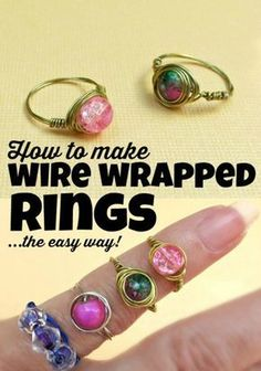 76 Crafts To Make and Sell - Easy DIY Ideas for Cheap Things To Sell on Etsy, Online and for Craft Fairs. Make Money with These Homemade Crafts for Teens, Kids, Christmas, Summer, Mother's Day Gifts. |  Wire Wrapped Bead Rings |  diyjoy.com/crafts-to-make-and-sell