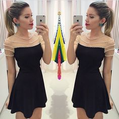 Sexy Black Short Homecoming Dresses 2016 Sheer Tulle Short Sleeves Chiffon Grade Dresses With Pearls Dress For Homecoming Cute Dresses, Beautiful Dresses, Casual Dresses, Short Sleeve Dresses, Short Sleeves, Fashion Vestidos, Fashion Dresses, 2016 Homecoming Dresses, Dresses 2016