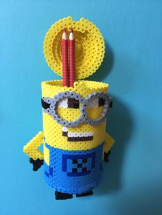 Minion container perler beads by Alice Yu Melty Bead Patterns, Pearler Bead Patterns, Perler Patterns, Beading Patterns, 3d Perler Bead, Diy Perler Beads, Minions, Minion Pattern, Perler Bead Disney