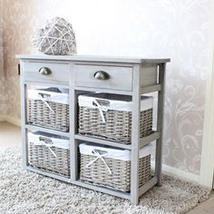 Vintage Grey Range - Two Drawer and Four Wicker Basket Storage Unit