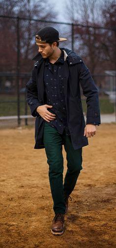 Green Pants/Navy print button up/Navy jacket Iamgalla.com