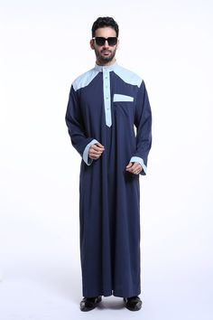 High quality Muslim Islamic Clothing for men Arabia abaya plus size dubai Men's Kaftan long sleeves Jubba 4 colors Alfred Dunhill, Traditional Fashion, Traditional Outfits, Men's Robes, Muslim Men, Muslim Dress, Islamic Clothing, Navy Blue Dresses, Kind Mode
