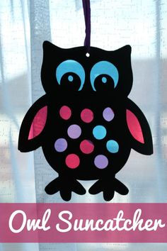 Stained Glass Style Owl Sun Catcher