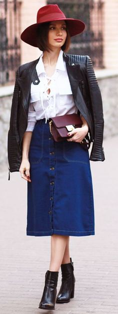 Sonya Karamazova White Lace Up Button-up Fall Street women fashion outfit clothing stylish apparel @roressclothes closet ideas