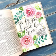 "Bible Journaling By ScribblingGrace Day 8 of the free Ephesians Bible study by @sarahekoontz talks about how we are created to do good works, but we don't do it on our own, God will work through us. At one part she says ""we don't manufacture good works; we manifest good works. We are simply"