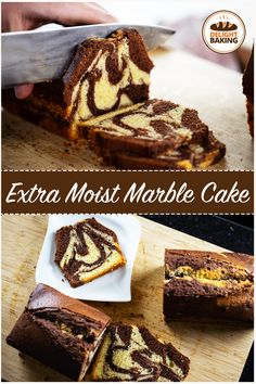 This extra moist marble cake is a classic one. It is very simple to make in a short time and tastes delicious. Simply the perfect cake on a Sunday morning. Marble Cake Recipe Moist, Marble Cake Recipes, Homemade Cake Recipes, Fun Baking Recipes, Pound Cake Recipes, Cheesecake Recipes, Dessert Recipes, Eggless Desserts, Cookie Desserts