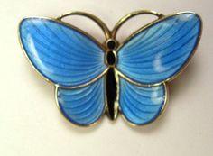 Sterling Silver Enamel Butterfly Brooch Pin Norwegian Aksel Holmsen Norway 925s