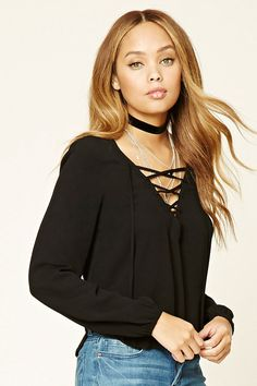 Lace Up Front Top