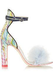 Sandales à talons en autruche à finitions en plumes Nicole