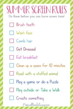 Free Summer Screen Rules for Kids from Natural Beach Living