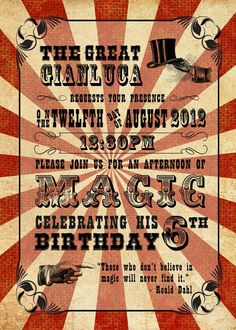 Vintage magic birthday party invitation