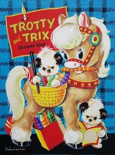 Unknown, Trotty And Trix Coloring Book, Cover Art, 1952 Design Ttribe Apparel Clip Art Vintage, Motif Vintage, Vintage Colors, Vintage Prints, Vintage Images, Vintage Posters, Vintage Coloring Books, Vintage Children's Books, Vintage Toys
