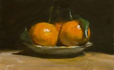 daily painting titled Clementines on a gold rimmed saucer - click for enlargement