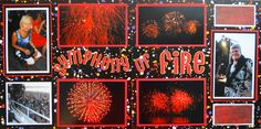 Black Scrapbook Page - Symphony of Fire 2 page layout of fireworks from Everyday Life Album 31