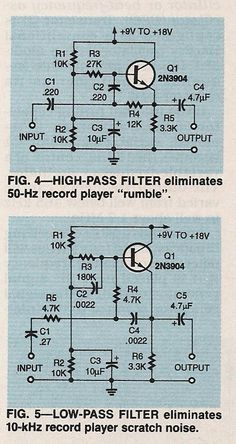 Highpass and lowpass filters Basic Electronic Circuits, Electronic Circuit Design, Electronic Schematics, Electronic Engineering, Electrical Engineering, Electronic Art, Hobby Electronics, Electronics Basics, Electronics Projects
