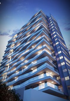 WWW.3DIMAGEM.COM.BR Futuristic Architecture, Facade Architecture, Residential Architecture, Amazing Architecture, Building Exterior, Building Facade, Building Skin, Building Elevation, Facade Design