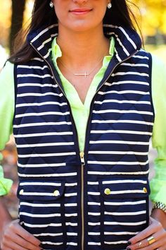 J.Crew Navy & White Striped Excursion Puffer Vest. Can't believe my good fortune. Just snagged this vest for $50 on poshmark!!!