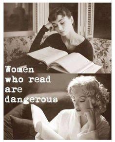 Women who read are dangerous - Audrey Hepburn and Marilyn Monroe reading I Love Books, Good Books, Books To Read, Book Quotes, Me Quotes, Lady Quotes, Quotes Pics, Truth Quotes, Love Reading