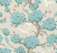 Japonerie (W6590-03) - Osborne & Little Wallpapers - An elegant all over wallpaper design, featuring trailing oriental blossom with birds in full flight. Shown here in  turquoise, ivory and stone. Other colourways are available. Please request a sample for a true colour match. Wide width
