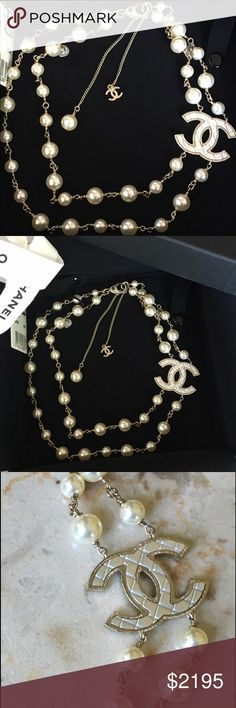 """Chanel CC Pearl Necklace This Pearl and gold double strand necklace is from 16P (2016 Printemps=Spring/Summer) and the entire collection was very popular and sold out quickly. The huge classic CC is pearlized with Chanel's iconic diamond quilt detail. Measures approx 19"""" and is adjustable with the extender chain. This is so comfortable and not heavy. Includes Chanel box, protective insert, tag and ribbon. Guaranteed authentic always. CHANEL Jewelry Necklaces"""