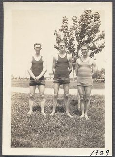 Vintage Photo Three Handsome Young Men in Tanktop Swimsuits