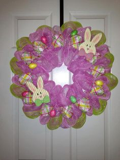 Easter Deco Mesh Wreath by MoniquesWreaths on Etsy, $50.00