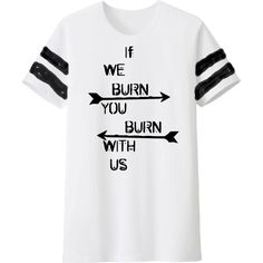 "Super Soft and Comfy Mockingjay Inspired tee!""Fire is catching! And if we burn, you burn with us!"" ― Suzanne Collins, MockingjayNOTE: Sleeve stripes are free-hand Screened on like the rest of the design. NOT sewn on.-Want this in V-neck"