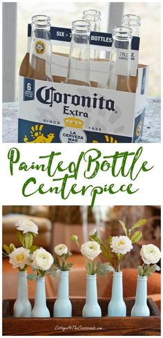 Aqua spray paint transforms beer bottles into the cutest spring centerpiece! #diy #centerpiece #upcycle #spring via @janewindham