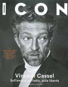 Vincent Cassel in Ermenegildo Zegna Couture on the April '15 cover of Icon Magazine Italy