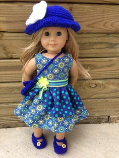 $25 set for American Girl doll or any 18 inch doll. Dress, hat, shoes and purse.