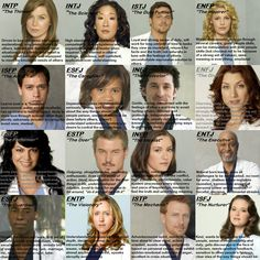 Grey's Anatomy MBTI... I am so in love w/this! I know which people the people in my life most identify with and this so them!!!!