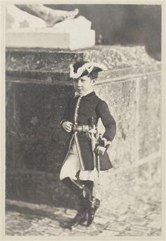 """Le Prince impérial en tenue de chasse à courre au pied du """"Caïn maudit"""" de Jouffroy, Charles Hideux"""