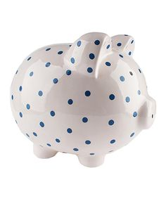 This White & Navy Piggy Bank by Beriwinkle is perfect! #zulilyfinds