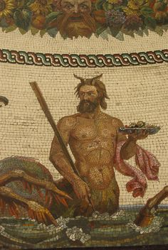 Mosaic of Triton, Greek god and Messenger of the Sea, Son of Poseidon