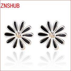 2017 new fashion high quality women silver black enamel earrings fine jewelry earrings wholesale retro daisies design