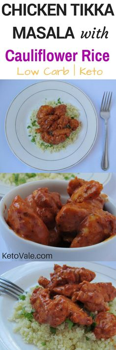 Chicken Tikka Masala Cauliflower Rice - low carb and keto friendly recipe