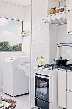 Idéias para separar a cozinha da lavanderia em espaços pequenos