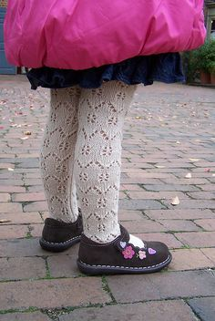Ravelry: Sunday Stroll tights pattern by Marina Hayes Knitting For Kids, Crochet For Kids, Baby Knitting Patterns, Knitting Socks, Baby Tights, Baby Leggings, Burgundy Skater Skirt, Style Baby, Knitted Baby Clothes