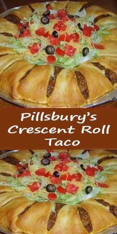 Ingredients: 2 crescent roll tubes 1 LB ground beef (or ground turkey) 1 packet of taco seasoning 1 cups grated cheddar chees Crescent Roll Taco Bake, Crescent Roll Dough, Crescent Roll Recipes, How To Make Taco, Food To Make, Baked Tacos Recipe, Taco Dinner, Pillsbury, Taco Seasoning