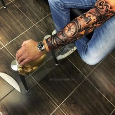 Tattoos for men Forarm Tattoos, Map Tattoos, Time Tattoos, Body Art Tattoos, Tribal Tattoos, Tattoos For Guys, Cool Tattoos, Full Sleeve Tattoos, Tattoo Sleeve Designs