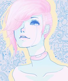 art, pale, anime, pastel, pink, blue, soft, guro, and boy image