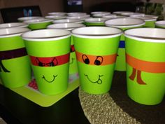 Teenage Mutant Ninja Turtle cups for the kids.  Used colored electric tape which was a tip from a friend.