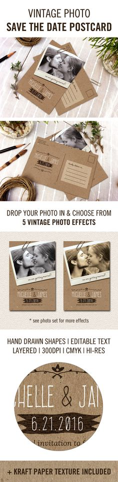 vintage save the date postcard invitation for wedding, DIY customizable template with retro rustic photo filters and kraft texture.