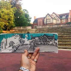 Kuhn Honours and Scholars House and the Browning Amphitheatre! #livesketching — at Kuhn Honors & Scholars House.  Art by Hemu