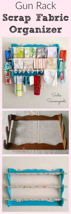 Want to display, organize, and store your scrap fabric in a simple, thrifty way? Try an old gun rack!! Super simple upcycle, and it becomes a gorgeous way to keep your remnants, leftovers, and small pieces of fabric clean, organized, and at the ready! Plus, it helps you remember what you already have- perfect for a craft room, and a fun thrift store DIY repurpose project! #SadieSeasongoods