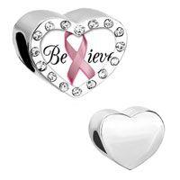 Heart Clear Crystal White Backg Pink Ribbon Word Believe
