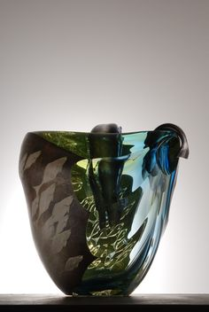 Hiroshi Yamano | 'From East to West: Nagare no. 79' Blown glass,etched silver leaf,copper overlay