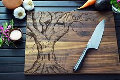 Personalized Cutting Board - Engraved Oak Tree - Customized Mother's Day, Wedding or Anniversary Gift for Couple