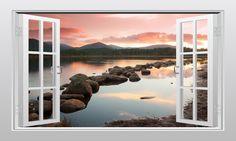 Scottish countryside (Loch Morlich) 3D Window Scape Graphic Art Mural Wall Sticker