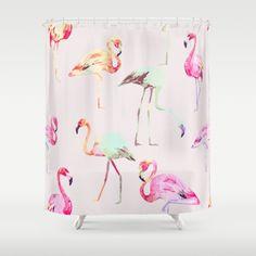 Flamingo Formation Shower Curtain by 83 Orange Flamingo Gifts, Flamingo Decor, Pink Flamingos, Flamingo Shower Curtain, Bathroom Shower Curtains, Girl Bathrooms, New Bathroom Ideas, Cute House, Minimalist Bathroom